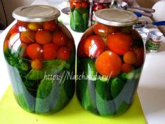 Консервированные огурцы с помидорами — яркая и вкусная закуска ассорти