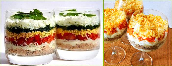 формовка салата в бокалах и стаканах