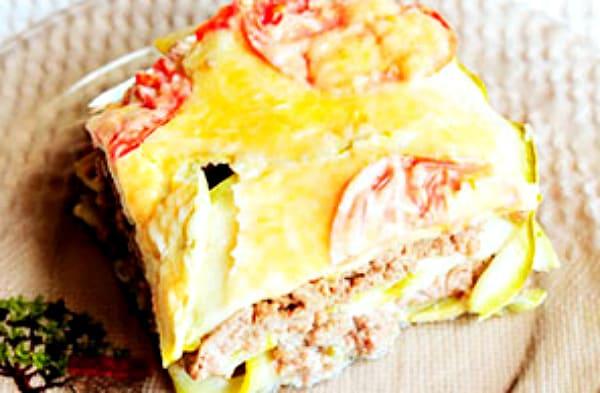 запеканка мясная с помидорами