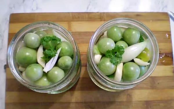 консервация зеленых черри