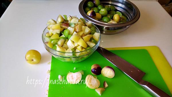 порезать плоды