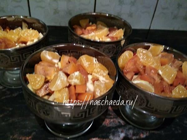мандарины в креманках