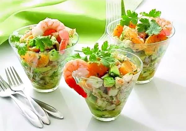 рецепты салата с креветками