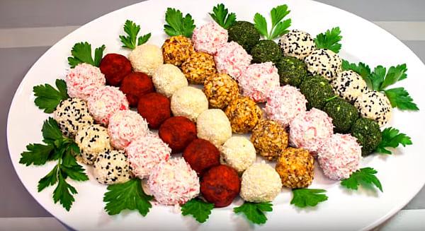 новогодняя закуска из сырных шариков