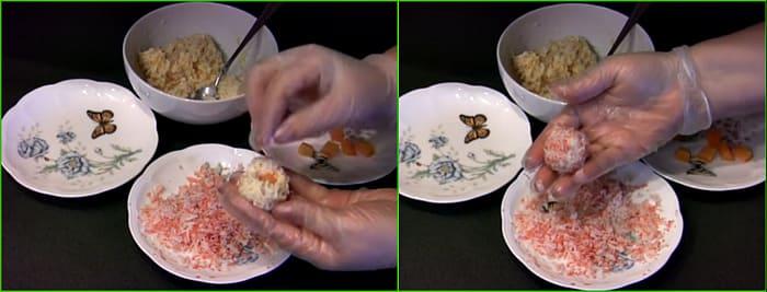 с крабовыми палочками и морковью