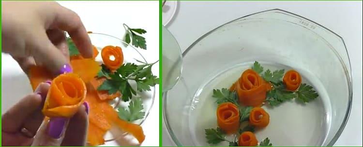 из моркови цветок