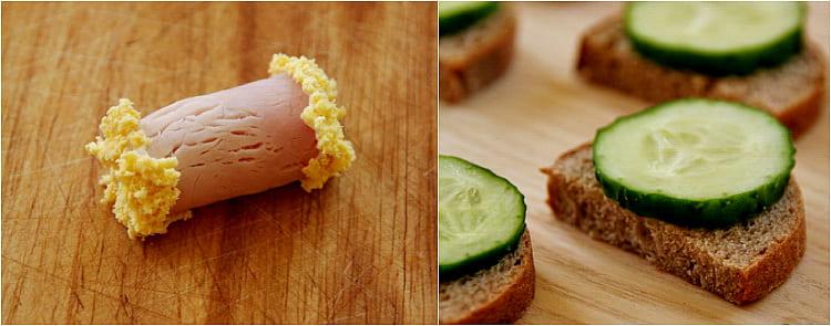 на ломтики хлеба