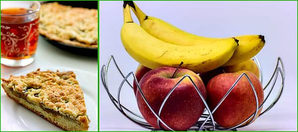 с яблоками и бананами