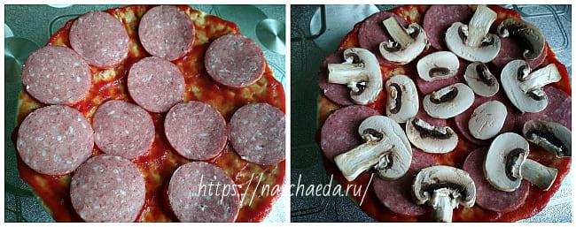 колбаса и грибы