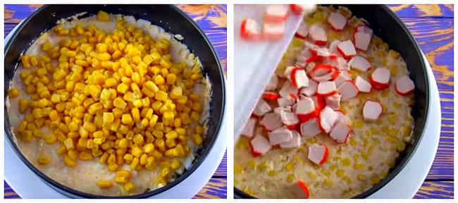 кукурузный и крабовый слой