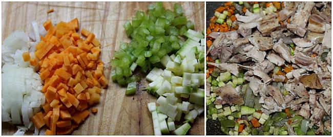 порезать и пожарить овощи