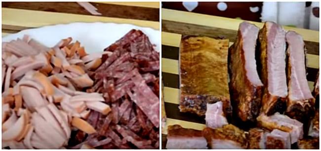 колбаса и ребрышки