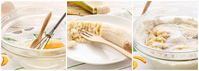 замесить тесто с бананом