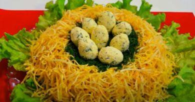 Салат «Гнездо глухаря» – классические рецепты